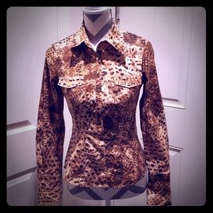 Trendy Animal Print Fitted Button Up Shirt